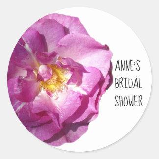 Pink Rose Bridal Shower Classic Round Sticker