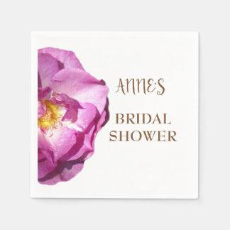 Pink Rose Bridal Shower Paper Napkins