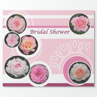 Pink Rose Bridal Shower Wrapping Paper