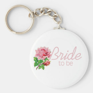 Pink Rose Bride to Be tshirts and Gifts Keychains