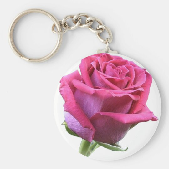 Pink Rose Bud Picture Keychain
