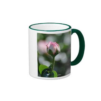 Pink Rose Bud Ringer Coffee Mug