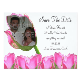 Pink Rose Bud Save The Date Card 11 Cm X 14 Cm Invitation Card