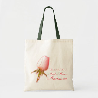 Pink rose bud wedding maid of honor bag