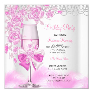 Pink Rose Champagne White Birthday Party Card