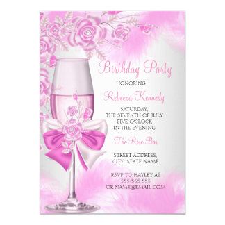 Pink Rose Champagne White Floral Party Card