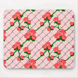 Pink Rose Climbing Chain Link Fence Seamless Patte Mouse Pad