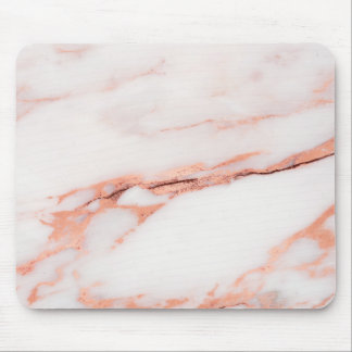 Pink Rose Copper White Gray Marble Stone Glam Mouse Mat