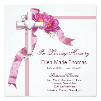 Pink Rose Cross In Loving Memory Memorial 13 Cm X 13 Cm Square Invitation Card