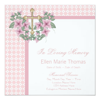 Pink Rose Cross Mourning Cards 13 Cm X 13 Cm Square Invitation Card