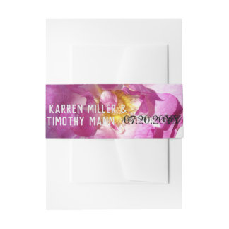Pink Rose  Custom Invitation Belly Bands Invitation Belly Band