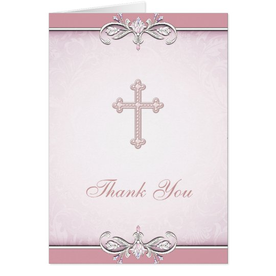 Pink Rose Damask Cross Christian Thank You Card