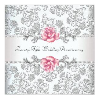 Pink Rose Damask Silver 25th Wedding Anniversary 13 Cm X 13 Cm Square Invitation Card
