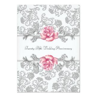 Pink Rose Damask Silver 25th Wedding Anniversary 13 Cm X 18 Cm Invitation Card