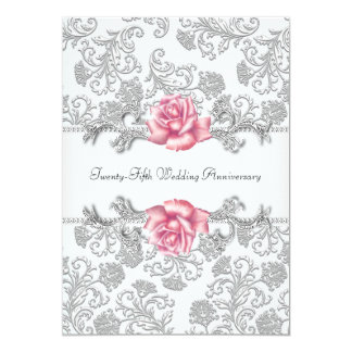Pink Rose Damask Silver 25th Wedding Anniversary Card