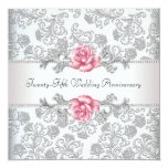 Pink Rose Damask Silver 25th Wedding Anniversary 13cm X 13cm Square Invitation Card
