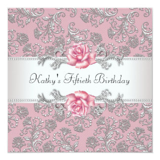 Pink Rose Damask Womans Birthday Party 13 Cm X 13 Cm Square Invitation Card