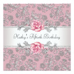 Pink Rose Damask Womans Birthday Party Invitations