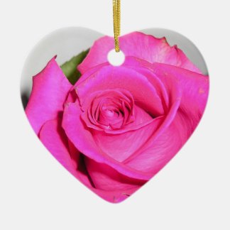 Pink Rose Double-Sided Heart Ceramic Christmas Ornament
