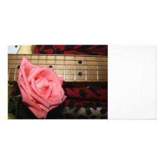 pink rose electric guitar fretboard neck music custom photo card