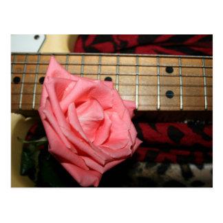 pink rose electric guitar fretboard neck music postcards