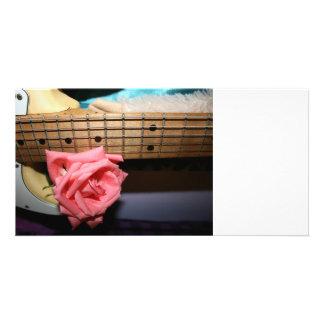 pink rose electric guitar neck fretboard musical custom photo card