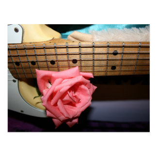 pink rose electric guitar neck fretboard musical postcards
