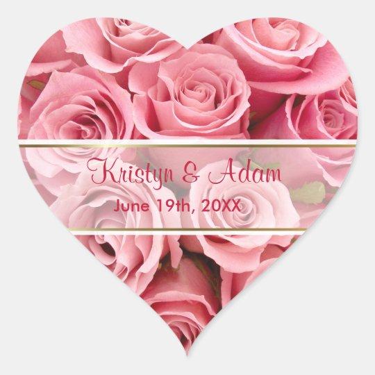 Pink Rose Elegance - Customise Heart Sticker