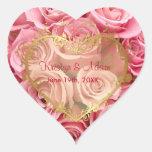 Pink Rose Elegance - Gold Heart Heart Stickers