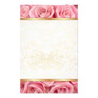 Pink Rose Elegance Personalized Stationery