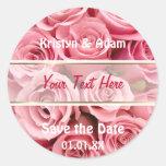 Pink Rose Elegance Round Stickers