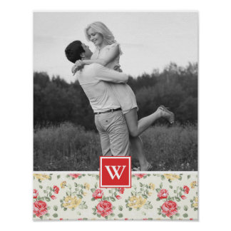 Pink Rose Elegant Wallpaper | Photo with Monogram Poster