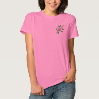 Pink Rose Embroidered Ladies Polo