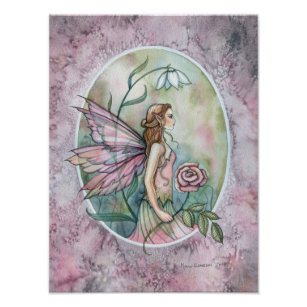 Red Gothic Rose Fairy in Moonlight 16x20 Poster Print Magic Mythical Fantasy Art