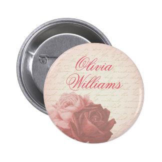 Pink rose feminine vintage floral girly button