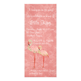 Pink Rose Flamingos Baby Invitation
