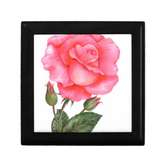 Pink Rose Floral Art Gift Box