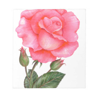 Pink Rose Floral Art Notepad