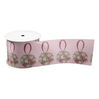 Pink Rose Floral Bouquet Bride Wedding Ribbon Satin Ribbon