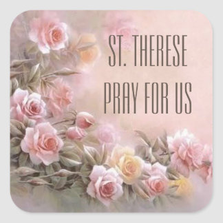 Pink Rose Floral Bouquet Saint Therese Square Sticker