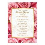 Pink Rose Floral Bridal Shower 13 Cm X 18 Cm Invitation Card