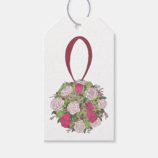 Pink Rose Floral Bride Bridesmaid Wedding Bouquet Gift Tags