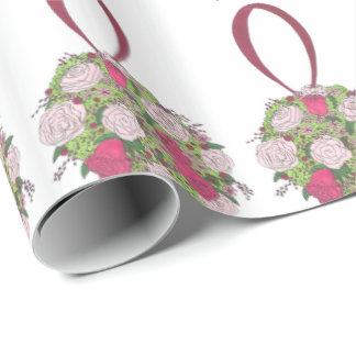 Pink Rose Floral Flower Bouquet Wedding Bride Wrap Wrapping Paper