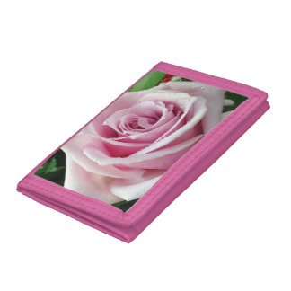Pink Rose Floral Trifold Nylon Wallet
