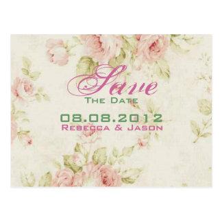 Pink rose Floral vintage wedding Save The date Postcard