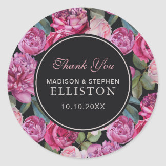 Pink Rose Floral Watercolor | Thank You Classic Round Sticker