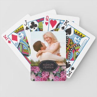 Pink Rose Floral Watercolor - Wedding Photo Poker Deck