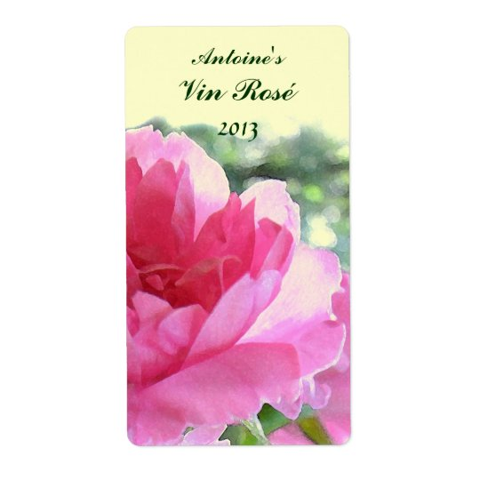 Pink Rose Floral Wine Label Shipping Label