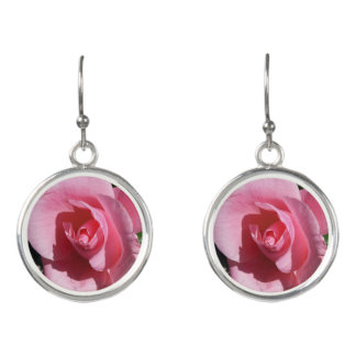 Pink Rose Flower Beautiful Floral Earrings