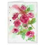 Pink Rose Flower Blank Greeting Card Watercolor